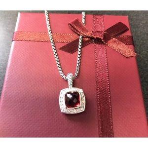 "David Y 7x7mm Garnet & Diamond Necklace 17"""